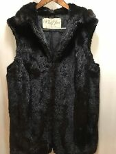 Black Real Mink  Fur Vest Coat Jacket Ladies M-L,XL?,10,12 zip up,zipper