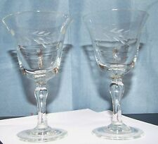 Vintage Cordial Glasses - Etched Leaves and Dots Design - Set of 2