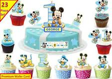 Niños De Mickey Mouse 1er Cumpleaños Cup Cake, escena Toppers Oblea Comestibles Stand Up