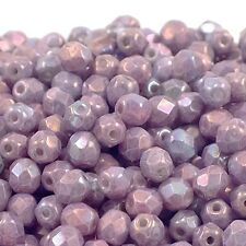 4mm Czech Faceted Round Glass Bead - Lustre Metallic Amethyst - 50pk