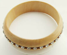 """MYSTIQUE  7.5"""" X 1"""" BROWN CLEAR CRYSTAL SILVER PLATE WOOD BANGLE BRACELET NEW"""
