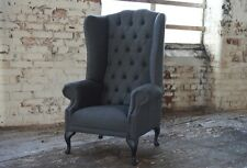 MODERN QUEEN ANNE CHESTERFIELD WING ARM CHAIR EXTRA HIGH BACK GREY WOOL FABRIC