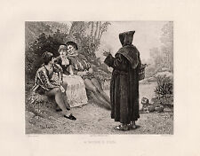 "Neat Etienne-Barthelemy GARNIER 1800s Antique Etching ""A Monk's Fun"" SIGNED COA"