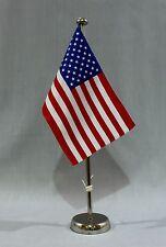 """Tischflagge """"USA"""" 25x15cm mit verchromten 44 cm Ständer Ver. Staaten von Amerika"""