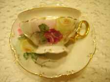 Hutschenreuther Selb LHS Bavaria China Tea Cup and Saucer Handpainted ROSES EXC