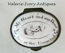 Battersea Bilston Enamel –My Heart and Hand – Motto Patch Box C 1780