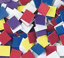 "100 Foam Mosaic Square Craft Shapes 1/2"" Square Self Adhesive No Glue! Kids Fun"