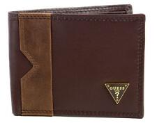 GUESS Brown Men's double billfold credit card genuine leather wallet NEW