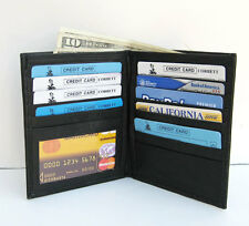 BLACK MEN's LAMB SKIN LEATHER BIFOLD HIPSTER TALL WALLET CARD HOLDER New M25