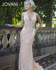 Jovani Authentic Red & Nude Lace Fitted Prom Evening Dress Sz 10 NWT