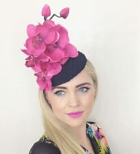 LARGE BLACK HOT PINK FUCHSIA FLOWER ORCHID HAT FASCINATOR ASCOT WEDDING  RACES