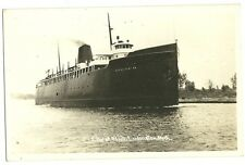 Real Photo City of Flint Ludington MI Mich Ship Boat Michigan Postcard