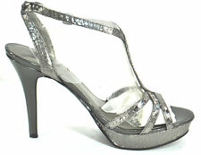 Marc Fisher Silver 10M Women's Pewter Platform T-strap Sandals TOOHOT NEW