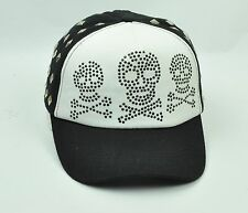 Bedazzled Skulls Womens Hat Cap Curved Bill Snapback Gems Studs Two Tone Rocker