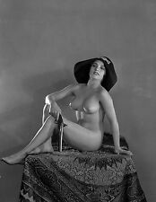 1920s Nude Pinup holding a pistol 8 x 10 Photograph