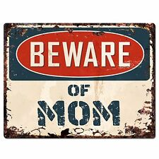 PP0977 Beware of MOM Plate Rustic Chic Sign Home Store Wall Decor Gift