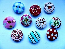 100 pcs  Mixed Patterned  Wood Scrapbooking //  Sewing Buttons 15mm