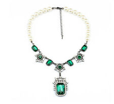 Exquiste Anthropologie Grand Emerald Green Gemmed Pearl Wrap Necklace