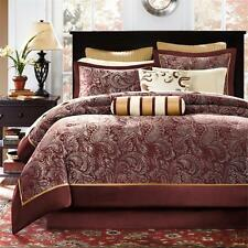 BEAUTIFUL ELEGANT COMFORTER SET & SHEETS GOLD GREY RED BURGUNDY KING & QUEEN CAL