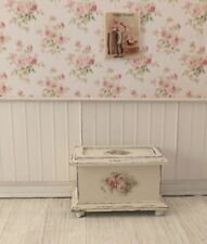 Dollhouse Miniature Shabby Chic Wooden White Blanket Chest Box Floral Decals