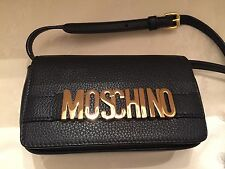 Moschino Couture Jeremy Scott Black Calf LEATHER Gold Letters Logo Crossbody Bag