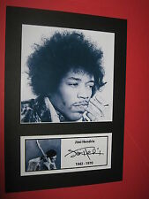 JIMI HENDRIX  A4 PHOTO MOUNT SIGNED PRINTED PURPLE HAZE HEY JOE TICKET CD