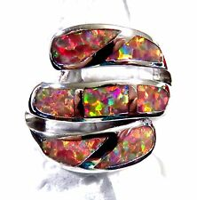 "Sterling 925 Silver SF Size 11 Ring Large Gorgeous Orange Lab Fire Opal 3/4"" W"