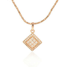 Rose Gold Plated Multicolor  Asscher Pendant March Long Chain Necklace