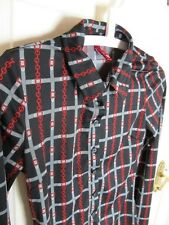 H&M Divided Classic Satin Feel Belt Chain Pattern Black Red Grey Shirt Size 10