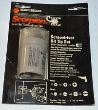 Black & Decker #71-462, Scorpion Anti-slip screwdriver bits w/magnetic holder.