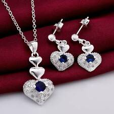 925 sterling Silver Sets Sapphire Heart Necklace Earrings Fashion Jewelry Gift