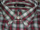CHAPS Mens Wrinkle Free, Long Sleeve, Plaid, Classic Fit Casual Shirt~$45~NWT