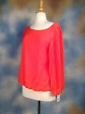 New Alfani Neo Coral Pleated Bell Sleeve Work Blouse Top Shirt