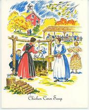 VINTAGE PENNSYLVANIA AMISH FIRE KETTLE COOK CHICKEN CORN SOUP RECIPE CARD PRINT