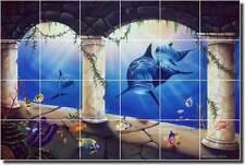 """Wilkie Dolphin Undersea Art Ceramic Tile Mural Backsplash 25.5"""" x 17"""" POV-JWA015"""