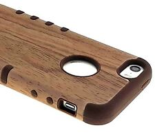 For iPHONE 5 5S SE - HARD & SOFT RUBBER SLIM FIT SKIN CASE BROWN WOOD OAK TREE