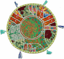 """Green 17"""" Floor pilllow Round Cushion Cover Throw Indian Handmade Tapestry"""