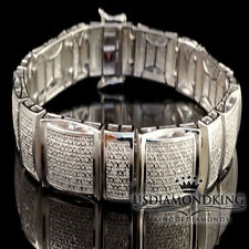MEN'S 1.5CT GENUINE REAL DIAMOND STERLING SILVER BRACELET NEW WHITE GOLD FINISH
