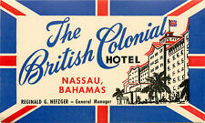 The British Colonial Hotel ~NASSAU BAHAMAS~ Great ART DECO Luggage Label, c 1955