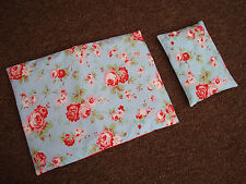 Cath Kidston DOLLS BEDDING COT / PRAM BUGGY QUILT & MATCHING PILLOW SET HANDMADE