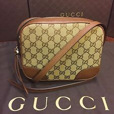 NEW Gucci GG Original Canvas And Tobacco Brown Leather Cross Body Bag
