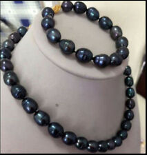 10-12mm Black Freshwater Natural Pearl Necklace Bracelet Set