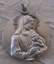 Vintage Catholic Religious Holy Medal -  Blessed Mother Her Precious Son Lovely