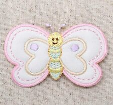 Iron On Embroidered Applique Patch Childrens Pastel Baby Puffy Butterfly