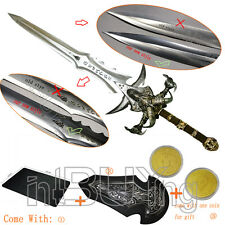 """Metal 1:1 Size Frostmourne Arthas Sword 47"""" Upgraded Coolest Coin + Mouse Pad"""