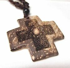 Celtic Knot Coconut Shell Cross Pendant Necklace 18in Engraved