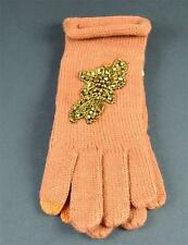 New Rust Brown Crystal Knit Gloves Index Finger & Thumb For Texting Touchscreen