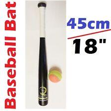 """45cm / 18"""" Wooden Rounders Baseball Bat & Soft Tennis Ball Garden Play Set Black"""