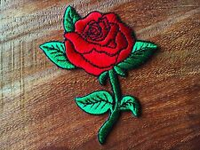 Beautiful Red Rose Jacket Jean Bag Embroidered Iron on Patch