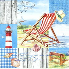4x Single Table Party Paper Napkins for Decoupage Decopatch Beach Chair Sea
